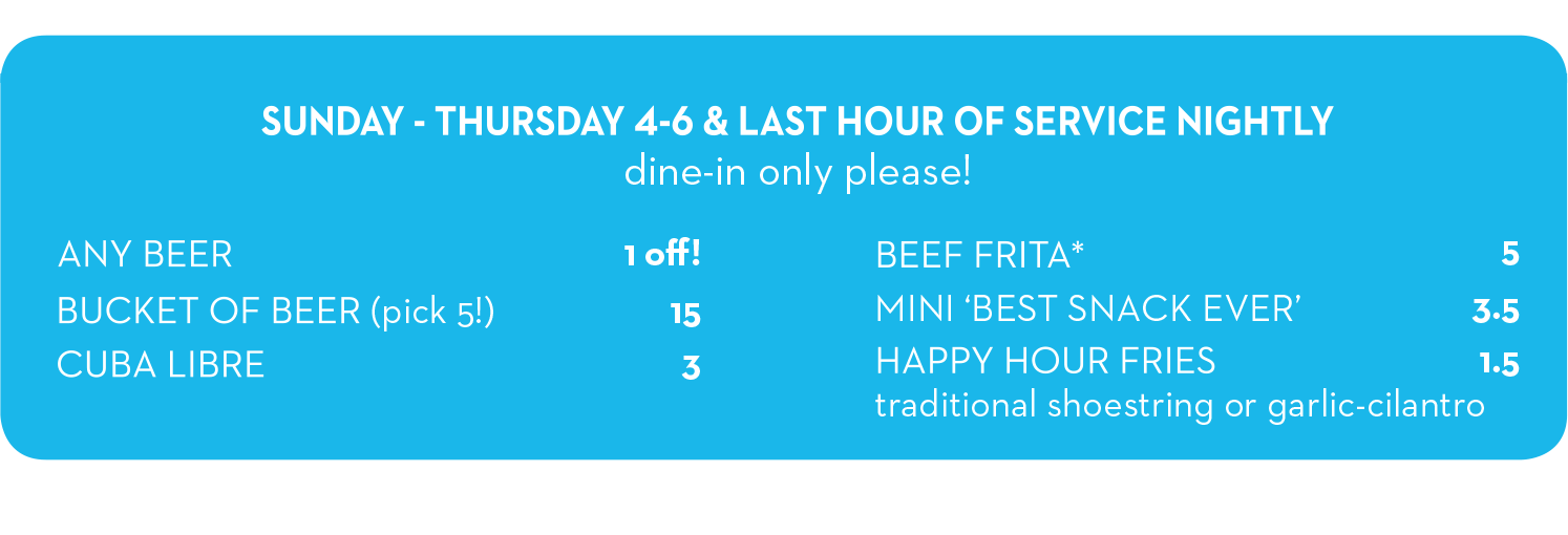 Frita Happy Hour Menu